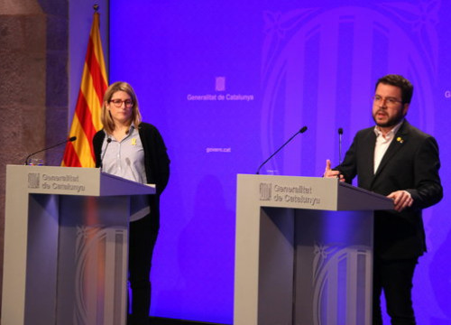 Catalan government spokesperson Elsa Artadi (left) and vice president Pere Aragonès (by Pau Cortina)