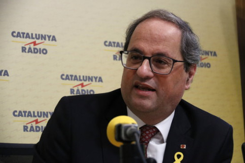 Catalan President Quim Torra during an interview with Catalunya Ràdio (by Guillem Roset)