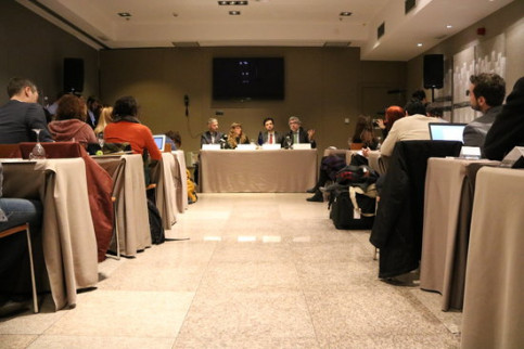 Lawyers of prosecuted Catalan leaders speak at a press conference in Madrid (by ACN)