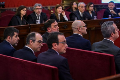 The prosecuted leaders Oriol Junqueras, Raül Romeva, Joaquim Forn, Jordi Sànchez, Jordi Turull and Josep Rull, in the dock, on February 12, 2019