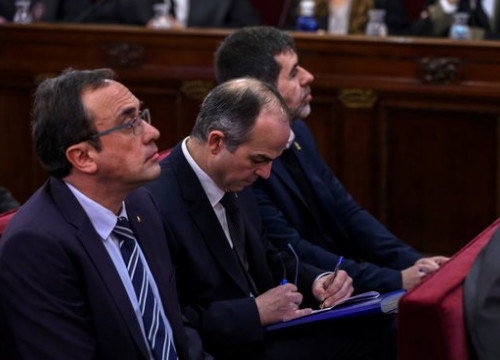 Former Catalan minister Josep Rull (left) at the Supreme Court in Madrid (by EFE)