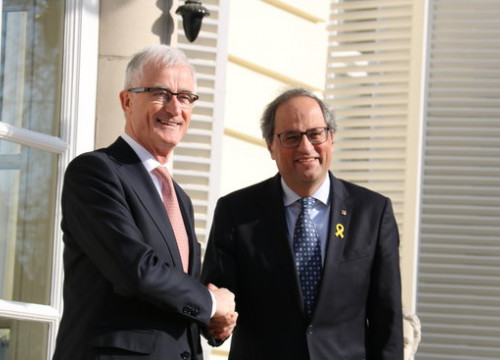 Catalan president Quim Torra meeting with Minister-President of Flanders, Geert Bourgeois