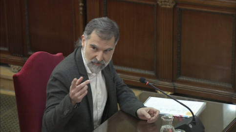 Jailed pro-independence activist Jordi Cuixart in Spain's Supreme Court on February 26, 2019.