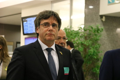 The former Catalan president, Carles Puigdemont, in the European Parliament on March 4, 2019 (by Natàlia Segura)