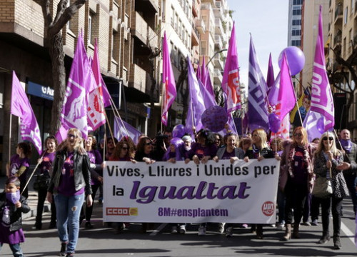 CCOO trade union marching during the International Women's Day demonstrations