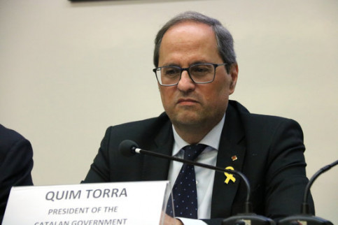 Catalan president Quim Torra during his conference in the University of Lisbon, Portugal (by ACN)