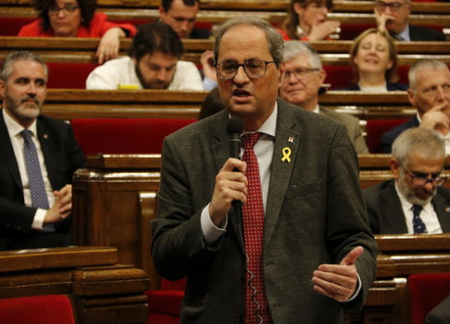 Quim Torra speaking in the Catalan parliament today
