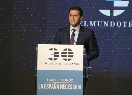 Ciutadans leader Albert Rivera during his speech a forum entitled 'the necessary Spain'