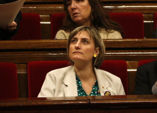 The minister for health, Alba Vergés, in a parliament session on the euthanasia and assisted suicide topic