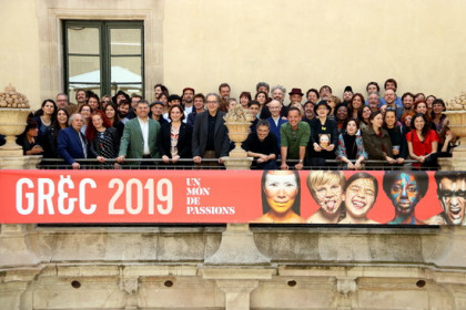 Group photo of some of the artists and creators performing in the Grec Festival 2019 (by Pau Cortina)