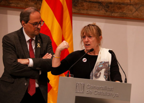 Nobel Peace Prize laureate Jody Williams speaks to the press after a meeting with Catalan president Quim Torra (by ACN)
