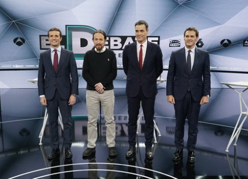Image of the four candidates for the Spanish election taking part in Atresmedia debate on April 23, 2019