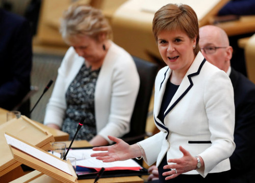 Nicola Sturgeon, the Prime Minister of Scotland, in the Scottish Parliament in Holyrood. (Photo: Reuters)