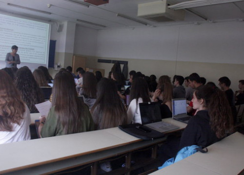 Inside a classroom in the Biology Faculty of the University of Barcelona (Ana Amat)