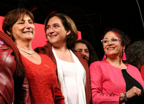 The mayor of Barcelona, Ada Colau, during the opening night of the 2019 local election campaign (by Nazaret Romero)