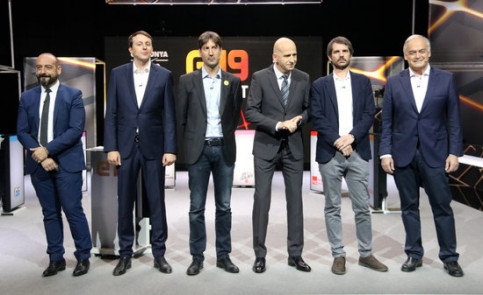 Image of the candidates in the EU election in a televised debate, without Junts per Catalunya's candidate