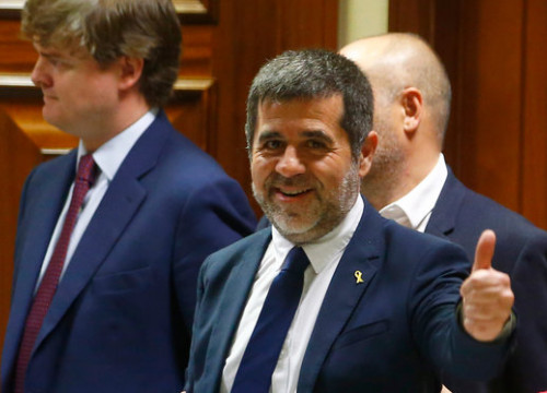 Jailed pro-independence leader Jordi Sànchez at the Spanish parliament (by ACN)