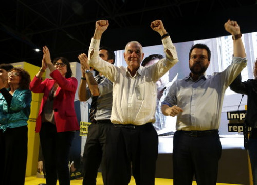 Ernest Maragall at a campaign event on Friday before the election. (Photo: Guillem Roset)