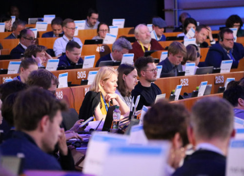 Several journalists were following the EU election night in Brussels on May 26, 2019 (by Blanca Blay)