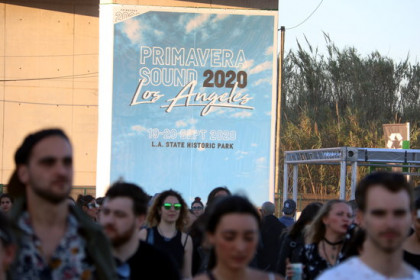 Image of Primavera Sound venue on June 1, 2019, with a sign announcing its Los Angeles edition (by Pau Cortina)