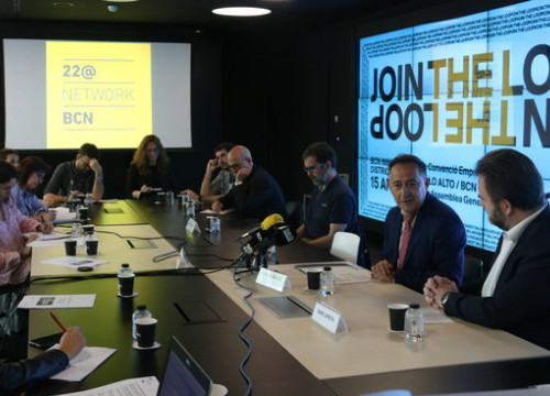 View of the press conference of the 22@Network bcn, the association of companies and institutions. (Photo: Aina Martí)