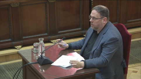 The former Catalan vice president, Oriol Junqueras, making his final remarks in the Catalan trial on June 12, 2019