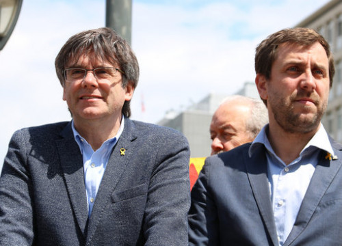 Former Catalan president Carles Puigdemont and former minister Antoni Comín (by Natàlia Segura)