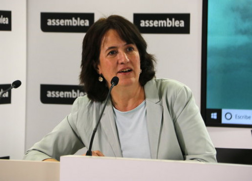 Elisenda Paluzie, president of the Catalan National Assembly, in a press conference on June 20, 2019. (Photo: Sílvia Jardí)