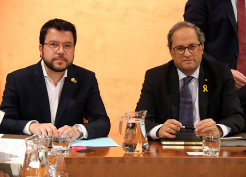 Catalan president Quim Torra (right) and vice president Pere Aragonès (by Estefania Escolà)
