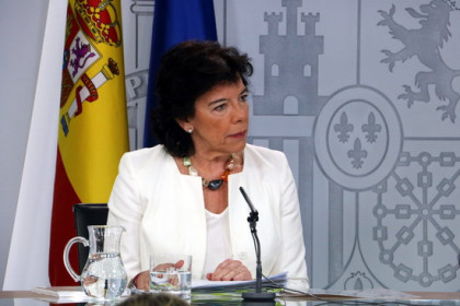 Acting Spanish government spokesperson Isabel Celaá in a press conference on August 9, 2019. (Photo: Tània Tàpia)