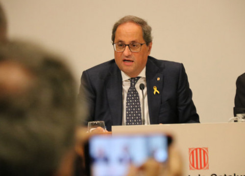 President Quim Torra addressing an audience at the presentation of the IdentiCAT project. (Photo: Miquel Codolar)