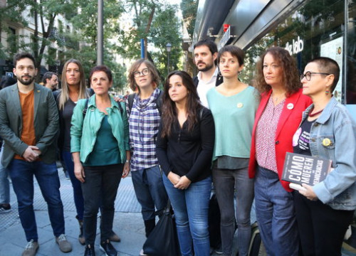 Image of representatives of four Catalan and Basque pro-independence parties in Madrid on September 26, 2019 (by Andrea Zamorano)