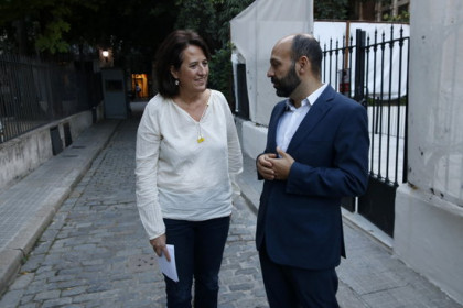 ANC's leader, Elisenda Paluzie, and Òmnium's vice president, Marcel Mauri, on October 4, 2019 (by Guillem Roset)