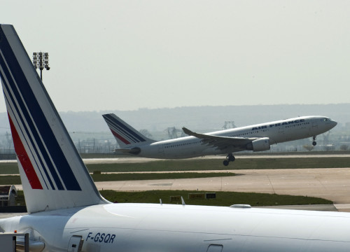 An Air France plane takes off from Paris' Charles de Gaulle airport