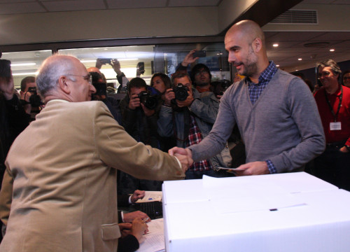 Pep Guardiola while voting in the unofficial referendum on independence on November 9, 2014