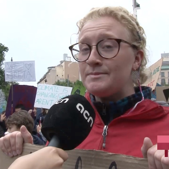 Protester Gracie on the Barcelona Fridays For Future demonstration