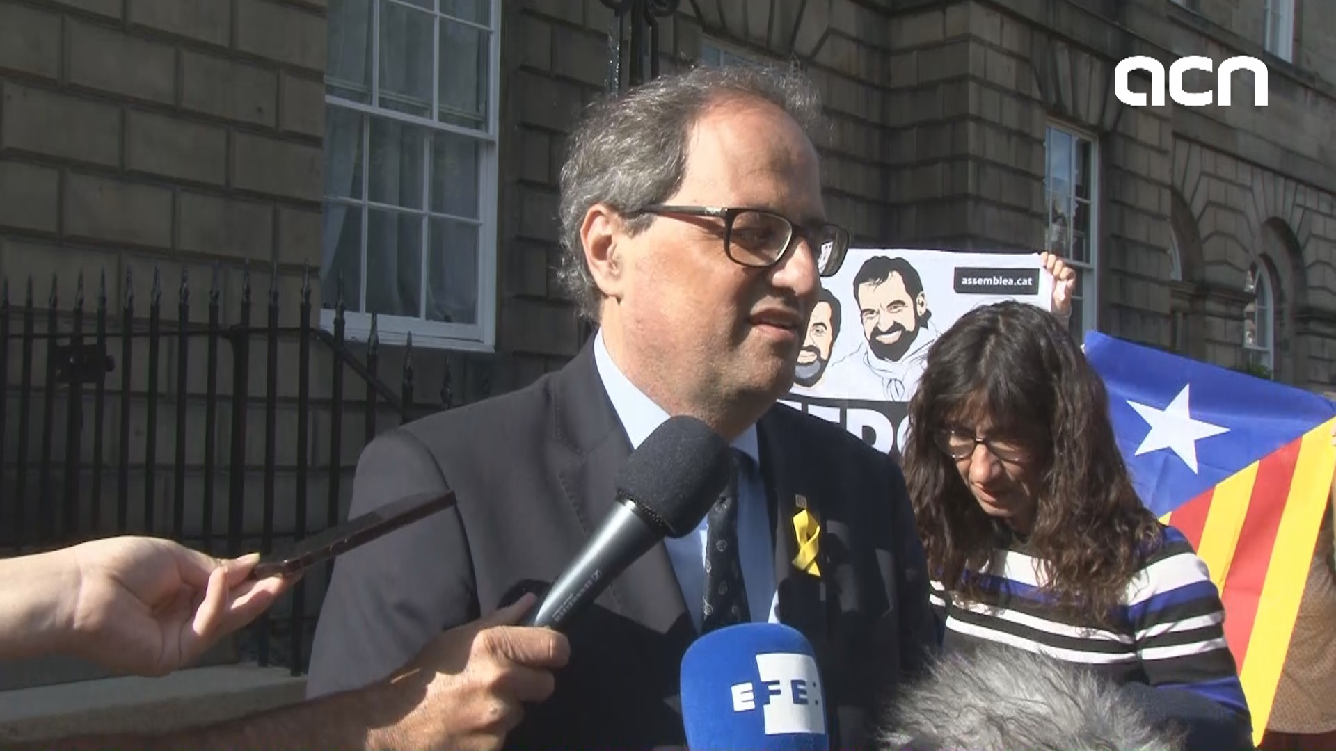 Quim Torra speaks to the press following meeting with Scottish first minister