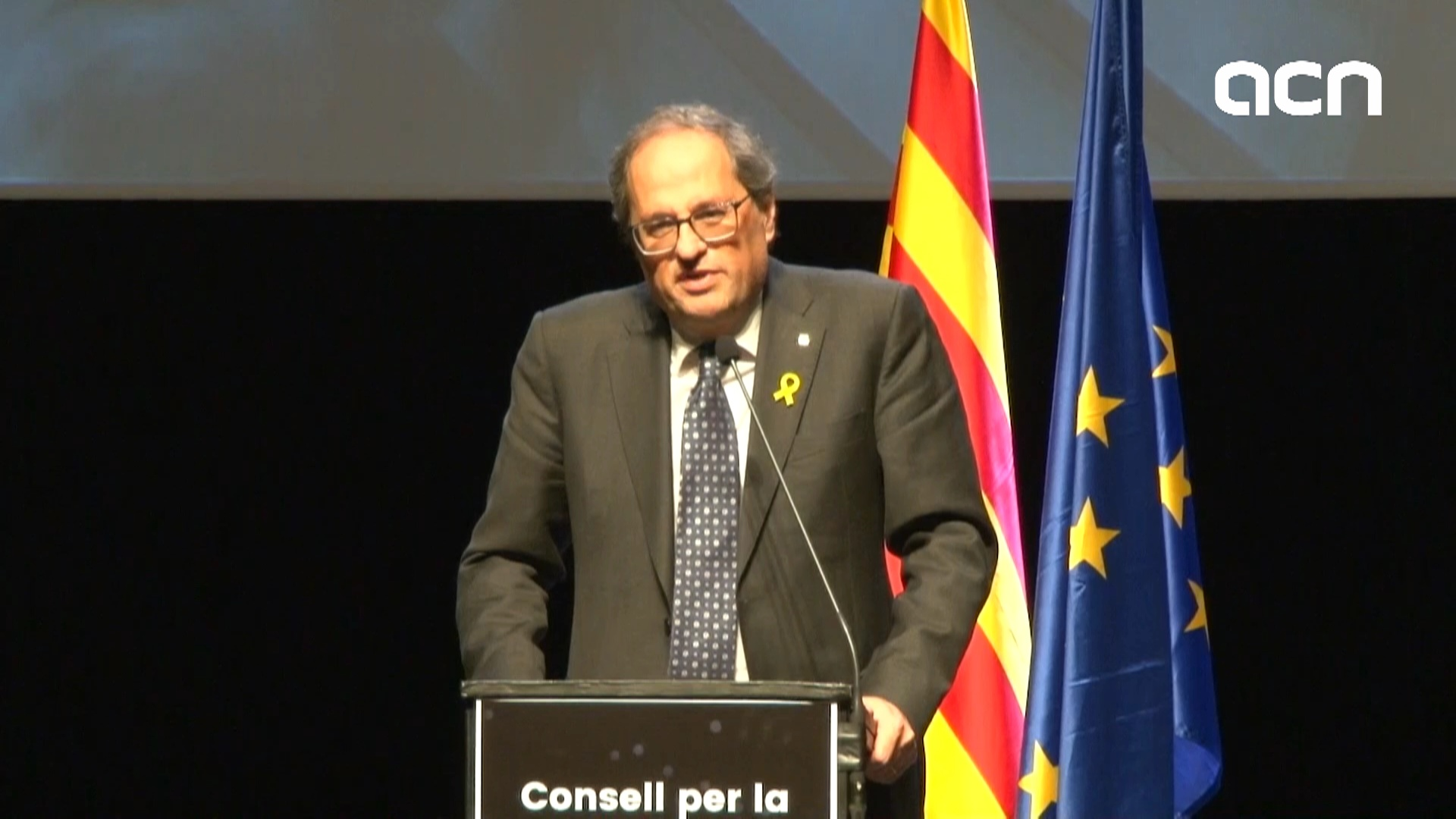 Catalan president Quim Torra speaks at the presentation for the Council for the Republic
