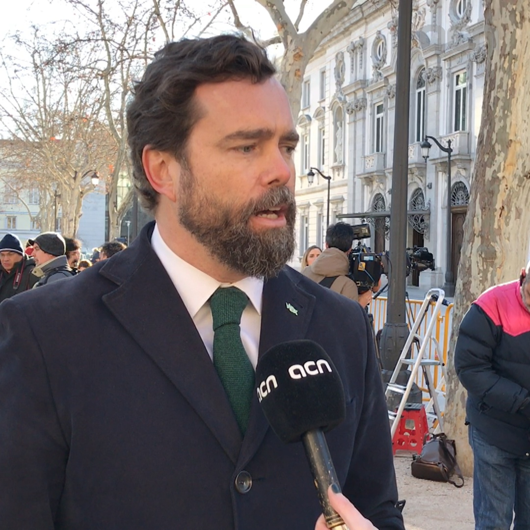Far-right Vox official Iván Espinosa speaks about the trial