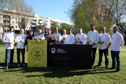 Michelin-starred chefs from the Girona Province, announcing the initiative last week (by T. Tàpia)