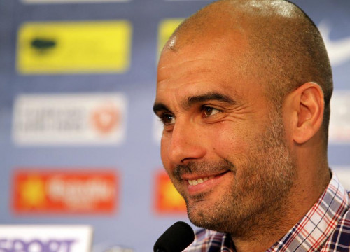 Barça's coach Pep Guardiola during the press conference (by FC Barcelona)