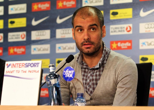 FC Barcelona's coach Pep Guardiola at today's press conference (by FC Barcelona)