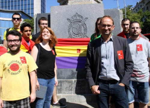 Joan Herrera, leader of the ICV-EUiA, participated in a protest against the coronation (by A. Moldes)