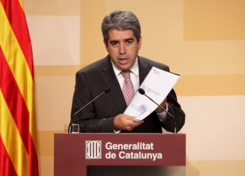 The Spokesperson for the Catalan Government, Francesc Homs, presenting the report on duplicities (by P. Mateos)
