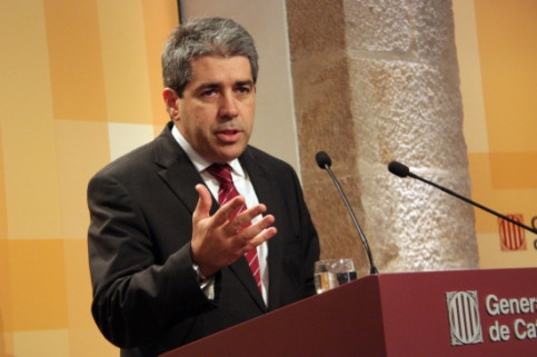 The Spokesperson for the Catalan Government, Francesc Homs, on Tuesday's press conference (by P. Mateos)