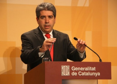 The Spokesperson for the Catalan Government Francesc Homs at this Tuesday's press conference (by X. Alsinet)