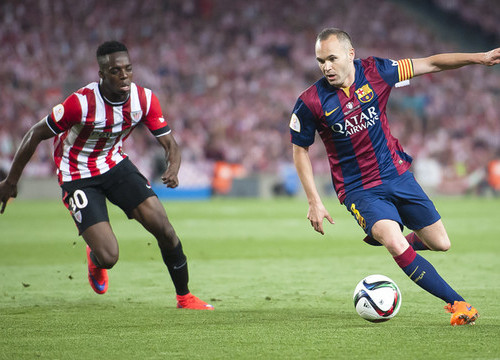 Andrés Iniesta in this year's Spanish Cup Final against Athletic Bilbao (by FC Barcelona)