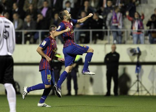 Andrés Iniesta scored Barça's only goal against L'Hospitalet (by FC Barcelona)