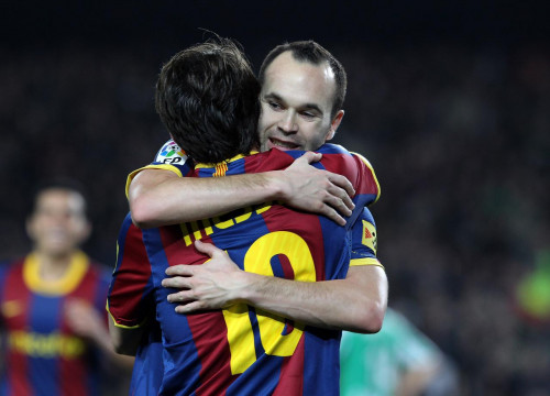 Iniesta congratulates Messi after one of his 3 goals (by FC Barcelona)