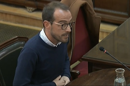 The official in charge of Catalonia's public information policy, Jaume Mestre, testifying in the Catalan trial